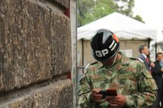 Snapted a soldier while double texting. Bogota 2013.