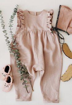 Handmade Powder Linen Baby Toddler Ruffle Romper | RockyRacoonApparel on Etsy