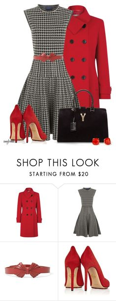 """""""Houndstooth and Red"""" by amybwebb ❤ liked on Polyvore featuring Precis Petite, Lanvin, FOSSIL, Charlotte Olympia, Yves Saint Laurent and Kate Spade"""
