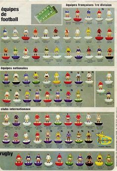 A figure chart showcasing all the options in that year's Subbuteo football range, France 1978 by Delacoste Table Football, Football Cards, Football Soccer, Monaco, Liverpool, Image Foot, Sir Alex Ferguson, Association Football, Most Popular Sports