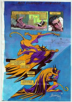I am now the delighted owner of this gorgeous water-color from        BATMAN-SHADOW OF THE BAT #21(1993) PAGE #16.  -PAINTED-ORIGINAL-SIGNED-ADRIENNE-ROY