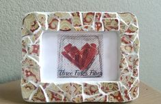 mosaic picture frame - red and cream tile picture frame - 4 x 6 picture frame…