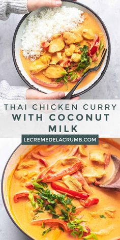 Thai Chicken Curry with Coconut Milk is an Asian-inspired recipe that's so easy and so tasty, you'd think you were eating at a fancy restaurant. Thai Curry Recipes, Soup Recipes, Dinner Recipes, Cooking Recipes, Healthy Recipes, Dinner Ideas, Thai Curry Recipe Easy, Thai Food Recipes Easy, Chicken Curry Recipes