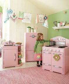 pink and green play kitchen