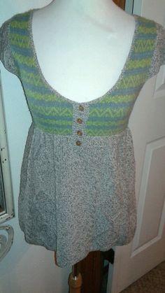 Free People Wool blend sweater top gray/green/blue SZ S low scoop neckline #FreePeople #ScoopNeck