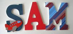 Airplane Custom Wooden Letters Personalized Nursery by LetterLuxe