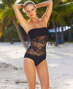 Kenneth Cole Swimsuit, Lace Bandeau One-Piece - Swimwear - Women - Macys