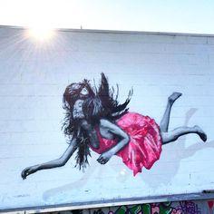 "#Repost @blackappleart ・・・ Brilliant ""All we are is falling"" wall piece by our good mates @snikarts in West Hollywood #snik #stencilskills #falling #hollywood #losangeles #la #stencil #sprayart #urbanart #blackappleart #streetart"