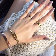 Cartier love bracelet and rings and nail bracelet Love Bracelets, Cartier Love Bracelet, Bangle Bracelets, Bangles, Cartier Love Ring, Cartier Jewelry, Cartier Rings, Hermes Bracelet, Vintage Bracelet