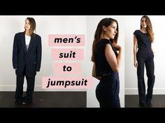 DIY Men's Suit to wide leg Jumpsuit refashion video