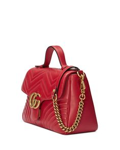 Gucci GG Marmont Small Chevron Quilted Top-Handle Bag with Chain Strap | Neiman Marcus