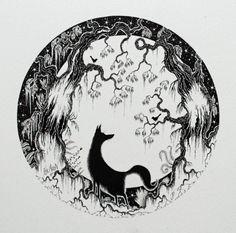 Fox Ink Illustration and fox and moon by JamiePattersonArt on Etsy