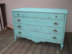 SOLD Chic and Shabby Beachy Aqua Dresser by VintageRebornLaura, $650.00