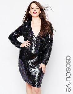 ASOS CURVE Sequin Plunge Mini Dress
