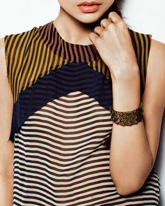 striped + color blocked top.