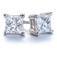 Blue Nile Princess-Cut Diamond Earrings in Platinum (1 ct. tw.) ($2,415) ❤ liked on Polyvore
