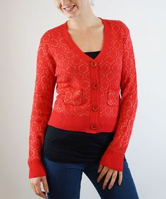 Loving this Red Circle Pocket Cardigan on #zulily! #zulilyfinds
