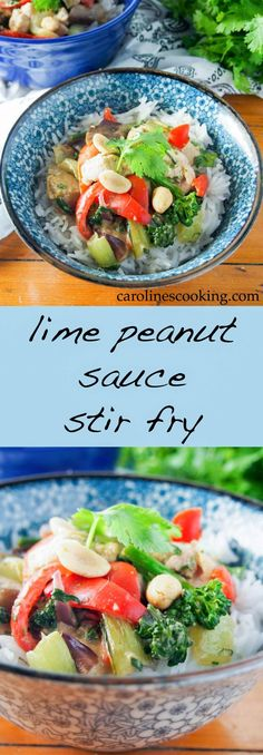 This lime peanut sauce stir fry combines a tasty, easy sauce with a quick stir fry - here with chicken & veg but mix it up! A delicious, quick & easy meal.