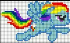 My Little Pony - Rainbow Dash Pony Bead Patterns, Pearler Bead Patterns, Kandi Patterns, Perler Patterns, Beading Patterns, Cross Stitch Patterns, Mosaic Patterns, Rainbow Dash, Crochet Pixel