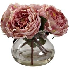 Nearly Natural Fancy Rose Floral Arrangement (925 ARS) ❤ liked on Polyvore featuring home, home decor, floral decor, flowers, fillers, plants, decor, fillers - pink, backgrounds and pink