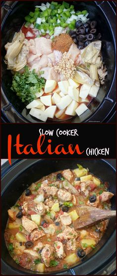 Paleo crockpot / Slow Cooker healthy paleo - Throw your favorite Italian ingredients in the slow cooker with your favorite cut of chicken for this easy and healthy slow cooker recipe. Slow Cooker Fajitas, Slow Cooker Enchiladas, Slow Cooker Lasagna, Slow Cooker Ribs, Healthy Slow Cooker, Slow Cooker Soup, Crock Pot Recipes, Healthy Crockpot Recipes, Paleo Recipes