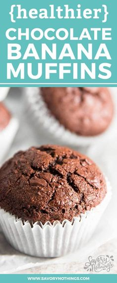 These healthier double chocolate banana muffins are loaded with extra mashed bananas, dark chocolate chips and whole wheat for a whole bunch of healthy goodness. A short ingredient list and easy instructions make them quick and simple to assemble. Sneak them into a lunch box as a surprise or make them for a special breakfast or weekend brunch. Thanks to all the banana they are incredibly moist and keep well for a few days. If you want to prep them ahead, they can easily go into the freezer.