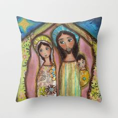 Nativity Night by Flor Larios Throw Pillow by Flor Larios Art - $20.00