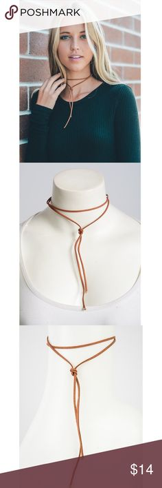 Knot wrap suede choker Brand new in package. Gold lobster clasp closure. This style is perfectly on trend for fall! It adds a unique look to any basic top. Jewelry Necklaces