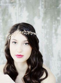 Ethereal Gold Crystal Wedding Accessory Hair Vine, Head Band, Hair Fascinator