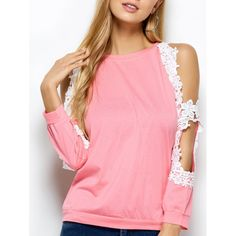 14.25$  Watch now - http://di8ns.justgood.pw/go.php?t=200324703 - Cold Shoulder Lace Spliced T-Shirt 14.25$