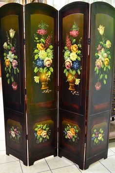 Gold Leaf Plum Blossom Room Divider Screen Oriental Chinese