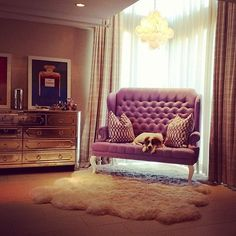 mirrored furniture, white fur, tufted seating and chanel art | grandin road color crush on purple thistle