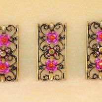 3 PIECE LARGE GOLD PLATED SHADES OF PINK CRYSTALS DESIGNER STYLE 2 HOLE SLIDER BEAD