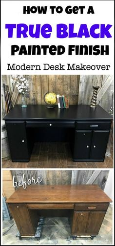 Painting your furniture gives you the look that you want for less the cost. This painted desk makeover went from dated to modern in a true black finish with no distressing. modern desk makeover in matte black chalk type paint. painted furniture, black painted furniture, painted desk, furniture makeover, painted furniture before and after, black chalk paint via @justthewoods