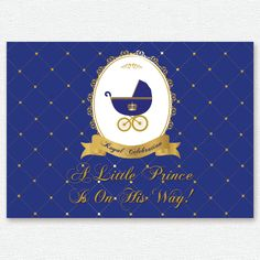 gold royal blue prince, crown, baby carriage baptism, christening, birthday, baby shower backdrop, sign poster, banner, party, decor, king by PRINTABLEPARTYPAPER on Etsy