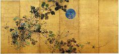 Detail. Autumn Flowers and Moon. Sakai Hoitsu, Japan. Six fold screen (with blue moon).