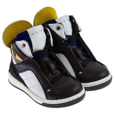 Fendi Boys Black White & Yellow High Top Trainers