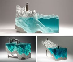 Floatglas Skulpturen Ozean Beton Küste Messing Figuren #design #lifestyle #sculpture