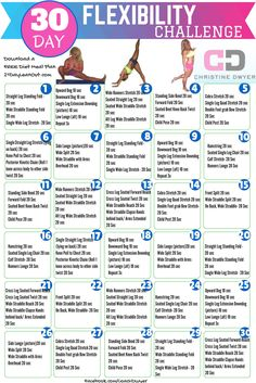 PIN IT to Take the Challenge! 30 Day Challenge! 30 Day Stretch! 30 Day Flexibility Challenge! ||| Print Off and Get Started! ||| Take a REST Day when you need.