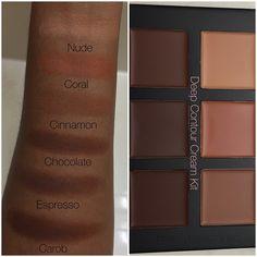 """""""@anastasiabeverlyhills Deep Contour Cream Kit swatches, for all my darker skin ladies."""