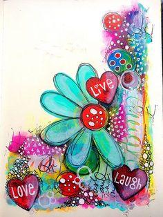 Tracy Scott - Dylusions and Dina Wakley paint art journal page. Art Journal Pages, Art Journals, Mixed Media Canvas, Mixed Media Art, Bible Art, Book Art, Bible Verses, Pintura Graffiti, Art Doodle