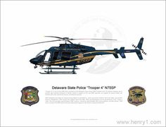 An original Illustration by Eric Lian. Delaware State Police Bell 407.
