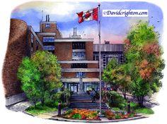 Soldiers Memorial Hospital, Orillia, Canada by Artist Illustrator David Crighton Art
