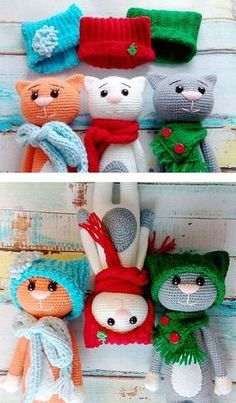 Funny amigurumi cats in hats - FREE PATTERN