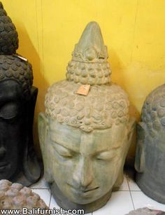pot2-3-buddha-head-terracotta-ceramic.Stone statues from Bali Indonesia. Stone carvings and sculptures made in Indonesia. Balinese stone crafts for export. Garden statues stone arts crafts.