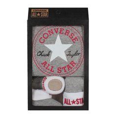 Converse Baby 3-er Geschenk-Set Body Mütze Söckchen grau