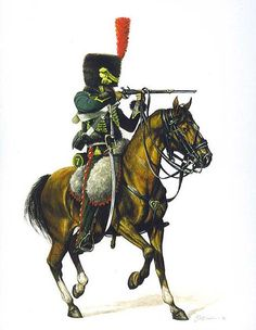 7th Hussars, c. 1812-1815. Each hussar regiment wore its own colors; the 7th was green and red.