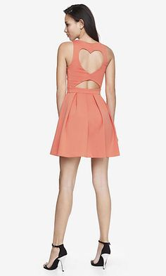 HEART BACK CUT-OUT FIT AND FLARE DRESS