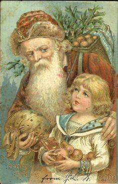 Santa with Girl Orange/Red Robe 1906..........lb xxxX