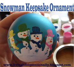 123 Homeschool 4 Me: Snowman Keepsake Handprint Ball Ornament